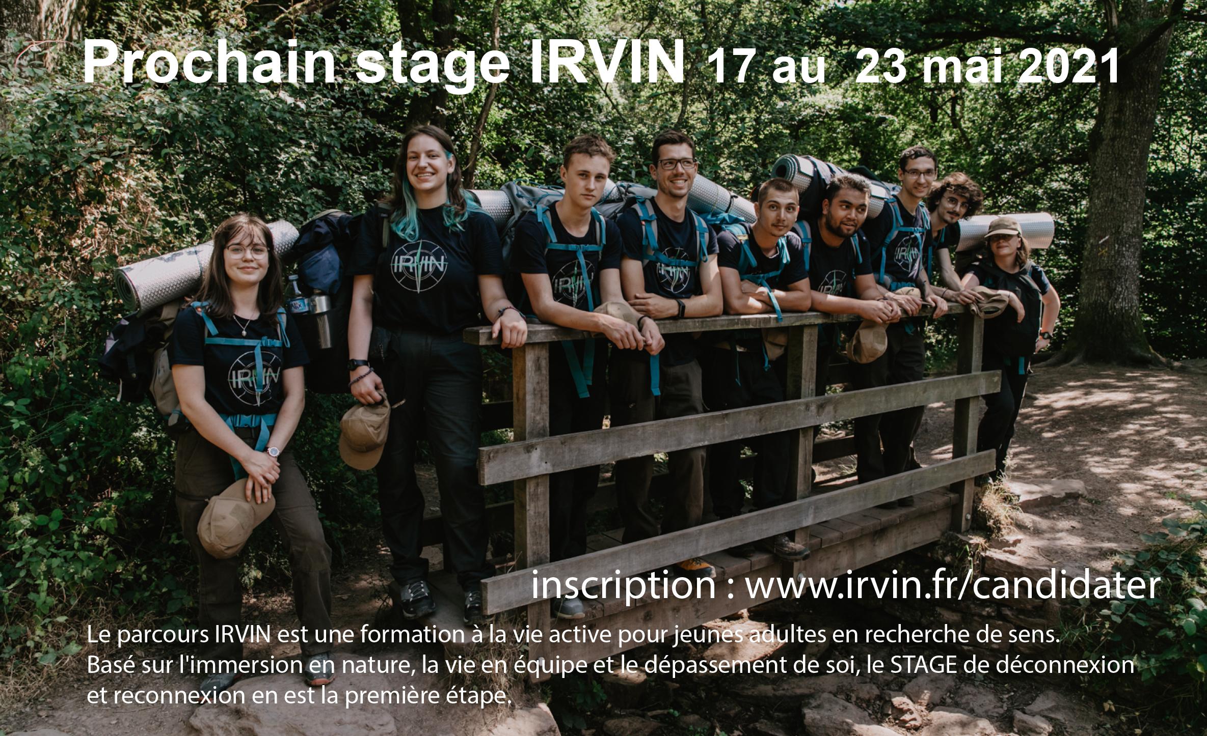 stage IRVIN du 17 au 23 mai 2021