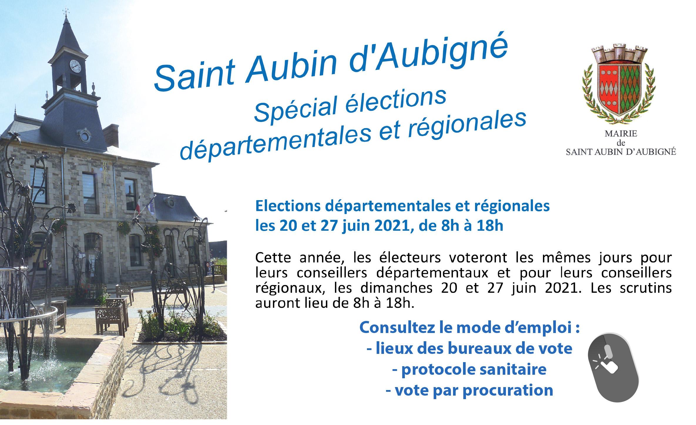 Elections départementales et régionales les 20 et 27 juin 2021, de 8h à 18h